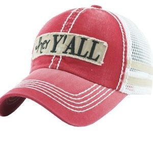 Accessories - ❤️❤️❤️NWT Red Hey Y'all Vintage Style Trucker Cap
